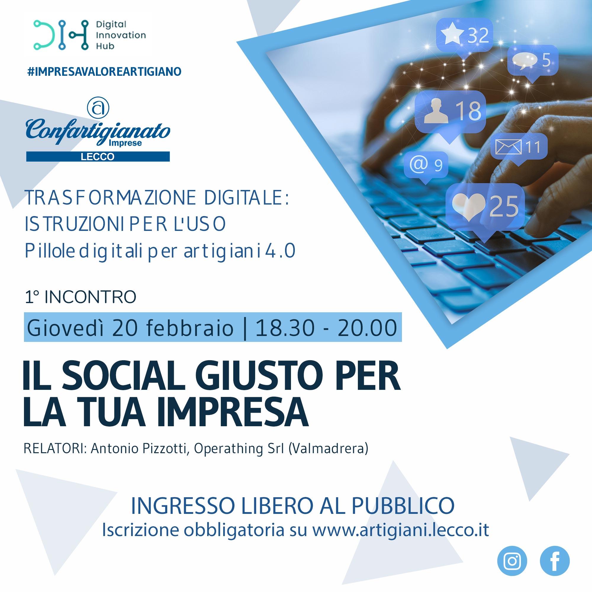 "Seminario ""Il social giusto per la tua impresa"" - 20 febbraio 2020"