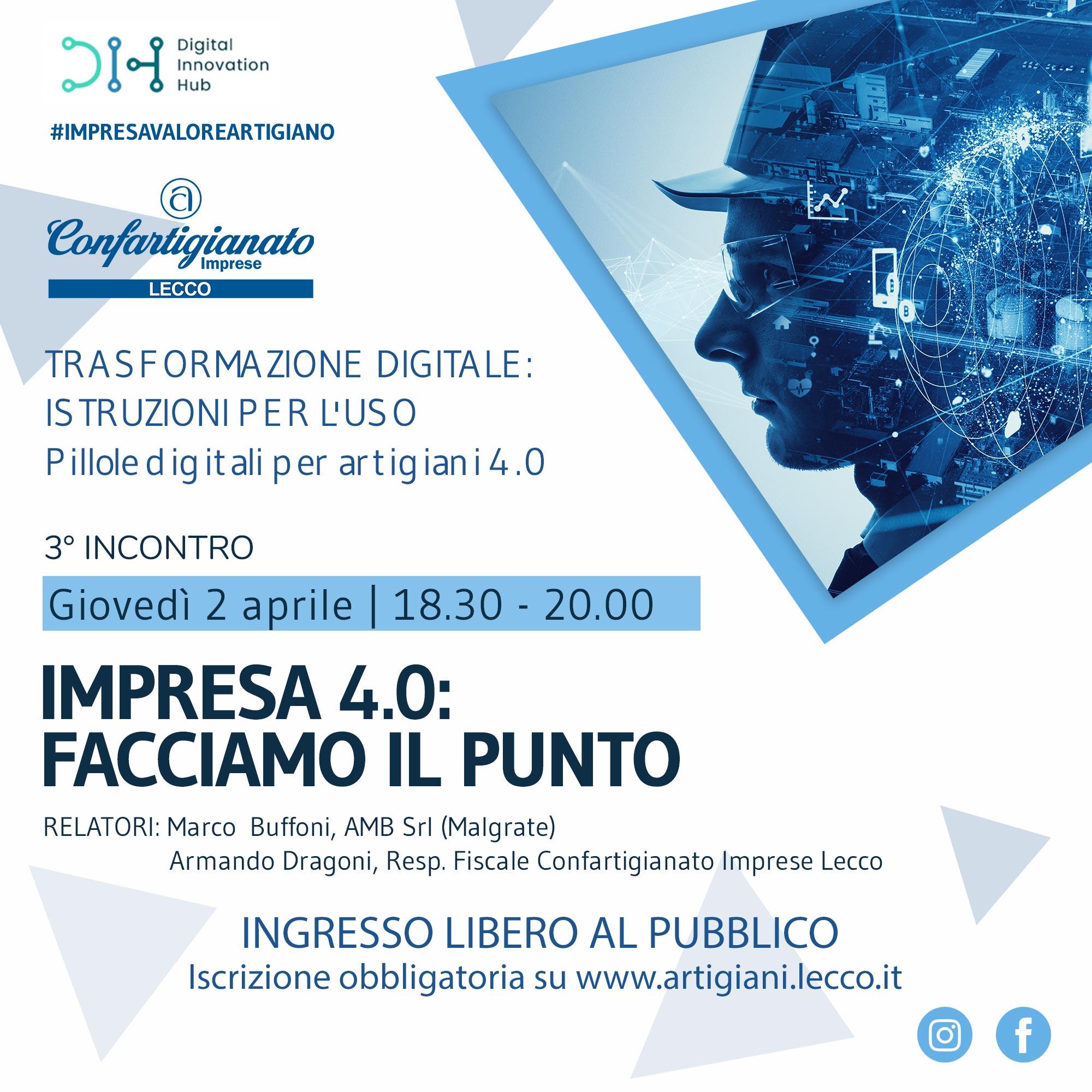 """Seminario """"Impresa 4.0: facciamo il punto"""" - 2 aprile 2020 RINVIATO"""