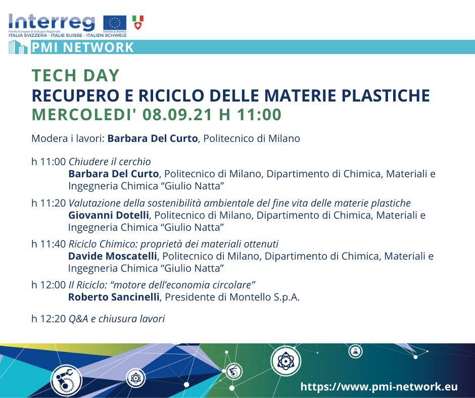 """Tech day """"Recupero e riciclo delle materie plastiche"""" – mercoledì 08/09 h. 11"""